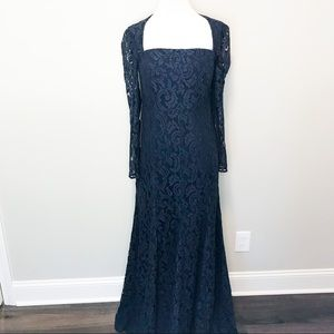 Ann Taylor Navy Formal Lace Long Sleeve Dress